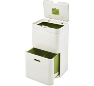 Vuilnisbak gescheiden afval 3 vakken - Joseph Joseph Intelligent Waste Totem 48 Liter Stone