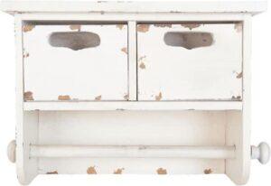 Keukenrolhouder hout wit Clayre & Eef