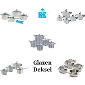 BK pannensets met glazen deksel, logo BK en symbool voor inductiekoken