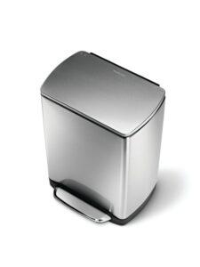 Simplehuman Afvalemmer Rectangular 38 Liter Mat Rvs.Vuilnisbak Met Langzaam Sluitende Klep Plezier In De Keuken