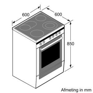 Afmetingen Siemens inductie fornuis HL9S5A340
